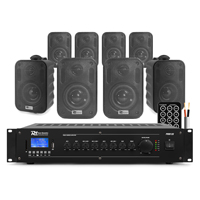 8x PD BC30V 100V 3 Inch Black Wall Speakers with Amplifier