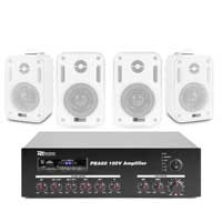 4x PD BC30V 100V 3 Inch White Wall Speakers with Amplifier
