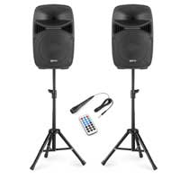 """Vonyx VPS102A 10"""" Karaoke Speaker System with Stands & Microphone"""