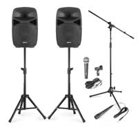 Vonyx VPS102 10 Inch Active Speaker Set with Stands and Microphones