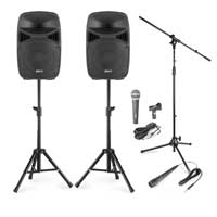 Vonyx VPS122 12 Inch Active Speaker Set with Stands and Microphones