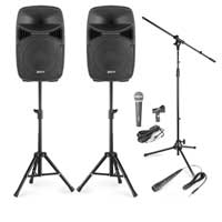 "Vonyx VPS152 15"" Active Party Speakers with Stands & Microphones"
