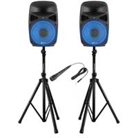 Vonyx VPS082A 8 Inch Active Speaker Set with Stands and Microphone
