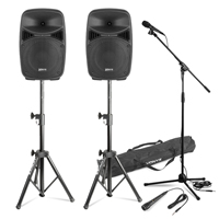 VPS082 8 Inch Active Speaker Set with Stands & Microphones