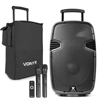 Vonyx SPJ-PA915 15 Inch Active PA Speaker with Microphones and Bag