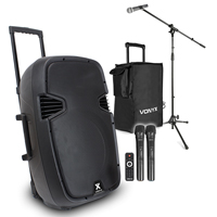 Vonyx SPJ-PA915 15 Inch Active PA Speaker with Microphone Set and Bag