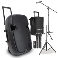 Vonyx SPJ-PA915 15 Inch Active PA Speaker with Stand, Microphone Set and Bag