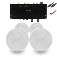 """Fonestar GAT-4507 6"""" 100V Ceiling Speakers & WA-2154D Stereo Amplifier, Set of 4"""