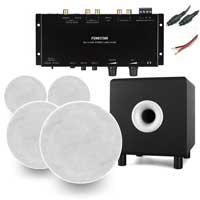 "Fonestar GAT-4507 6"" 100V Ceiling Speakers, Subwoofer & WA-2154D Stereo Amplifier, Set of 4"