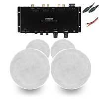 "Q Acoustics Qi65CB 6.5"" Ceiling Speakers & WA-2154D Stereo Amplifier, Set of 4"