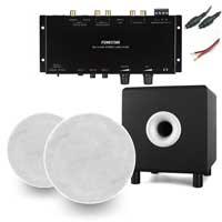 "Q Acoustics Qi65CB 6.5"" Ceiling Speakers, Subwoofer & WA-2154D Stereo Amplifier, Pair"