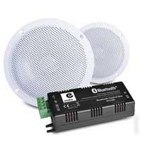 """E-Audio B300A 4"""" Waterproof Ceiling Speakers Pair with Bluetooth Amplifier"""
