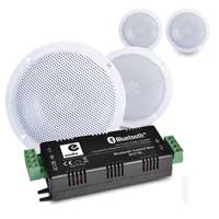 """E-Audio B300A 4"""" Waterproof Ceiling Speakers Pair with Bluetooth Amplifier, Set of 4"""