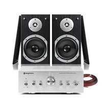 "Fenton SHFB55B 5"" Hi-Fi Bookshelf Speaker Set with Amplifier"