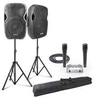 "Vonyx AP1200ABT 12"" Bluetooth PA Speaker Set with Stands, Mics & Karaoke Amplifier"