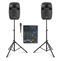 """Vonyx VPS082A 8"""" Active Party Speaker Set with CLUB XS8 Mixer & Stands"""