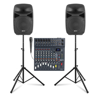 """Vonyx VPS102A 10"""" Active Party Speaker Set with CLUB XS10 Mixer & Stands"""