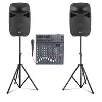 """Vonyx VPS122A 12"""" Active Party Speaker Set with CLUB XS10 Mixer & Stands"""
