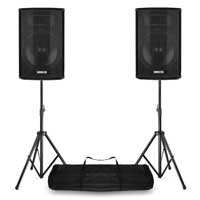 """Vonyx CVB12 12"""" Bluetooth Active PA Speakers with Stands"""