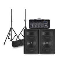 Complete PA System with Vonyx SL12-V612 Passive Speakers, Stands & Mixer Amplifier