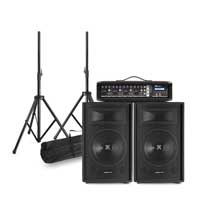 Complete PA System with Vonyx SL10-V410 Passive Speakers, Stands & Mixer Amplifier