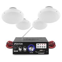 Bluetooth Amplifier Ceiling Speaker System Cafe Restaurant Shop (Set of 4)