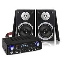 """Fenton SHFB55B 5"""" Hi-Fi Bookshelf Speaker Set & AV100BT Stereo Amplifier"""