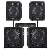 """Max SPVXA-3000 15"""" PA System Speakers with Subwoofers & Amplifier"""