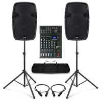 Complete PA System with Ekho RS12A Active Speakers, Studiomaster Mixer, & Stands
