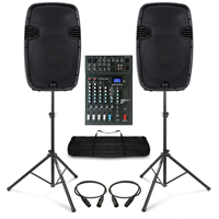 Complete PA System with Ekho RS15A Active Speakers, Studiomaster Mixer, & Stands