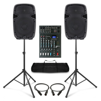 Complete PA System with Ekho RS10A Active Speakers, Studiomaster Mixer, & Stands