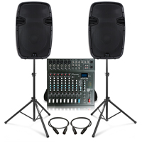 Complete PA System with Ekho RS15A Active Speakers, Studiomaster CLUB XS10+ PA Mixer & Stands
