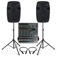 Complete PA System with Ekho RS12A Active Speakers, Studiomaster CLUB XS10+ PA Mixer & Stands