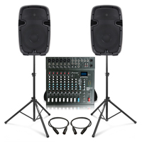 Complete PA System with Ekho RS10A Active Speakers, Studiomaster CLUB XS10+ PA Mixer & Stands