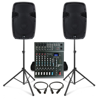 Complete PA System with Ekho RS12A Active Speakers, Studiomaster CLUB XS8+ PA Mixer & Stands