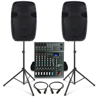 Complete PA System with Ekho RS15A Active Speakers, Studiomaster CLUB XS8+ PA Mixer & Stands