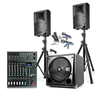 Vonyx VX800BT Active Speaker Set and CLUB XS8+ PA Mixer with Stands & Cables