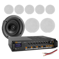 """4-Zone Ceiling Speaker System with PD FCS5 5.25"""" Speakers & PDV240MP3 Amplifier, Set of 8"""