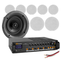 """4-Zone Ceiling Speaker System with PD FCS8 8"""" Speakers & PDV240MP3 Amplifier, Set of 8"""