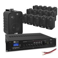 "4-Zone Ceiling Speaker System with PD BV40V 4"" Black Speakers & PRM240 Amplifier, Set of 16"