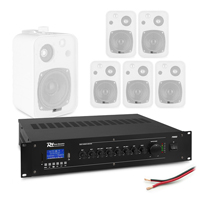 """Background Music System with PD BV40V 4"""" White Wall Speakers & PRM60 Amplifier, Set of 6"""