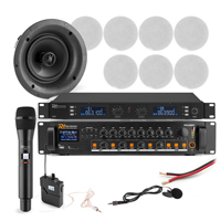 """Announcement System with PD FCS5 5.25"""" White Ceiling Speakers, Mics & PDV240MP3 Amplifier, Set of 8"""