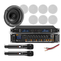 """Announcement System with PD FCS6 6"""" White Ceiling Speakers, Mics & PDV240MP3 Amplifier, Set of 8"""