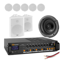 """4-Zone PA System with 6 FCS5 5.25"""" Ceiling, 2 BC50V White Wall Speakers & PDV240MP3 Amplifier"""