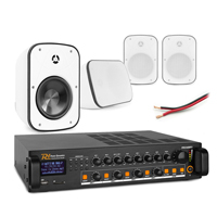 """Background Music System with PD BD65TW 6.5"""" White Wall Speakers & PDV240MP3 Amplifier, Set of 4"""