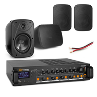 """Background Music System with PD BD65TB 6.5"""" Black Wall Speakers & PDV240MP3 Amplifier, Set of 4"""