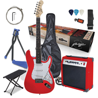 Johnny Brook Electric Guitar with Amplifier, Red with Stand & Foot Rest