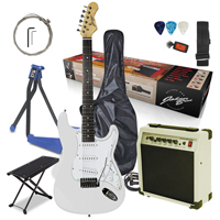 Johnny Brook Electric Guitar with Amplifier, White with Stand & Foot Rest
