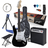 Johnny Brook Electric Guitar with Amplifier, Black with Stand & Foot Rest