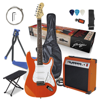 Johnny Brook Electric Guitar with Amplifier, Burnt Orange with Stand & Foot Rest